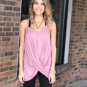 Tops - Front crossed blush tank top